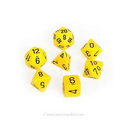 Set de 7 dados Chessex opacos amarillo y negro