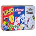 Phase 10, Uno y Snappy Dressers - pack en caja de metal - juego de cartas