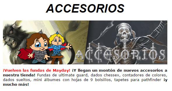 NOVEDADES Y PROMOCIONES MAYO - JUEGOS DE LA MESA REDONDA Accesorios-mayo2015-1