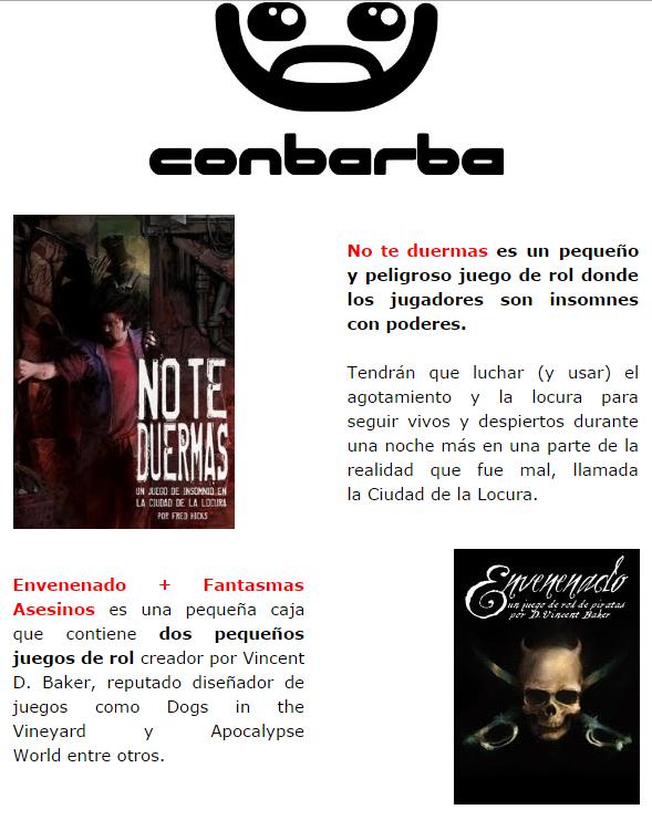 NOVEDADES Y PRE VENTAS SEPTIEMBRE 2014 - JUEGOS DE LA MESA REDONDA Conbarba1-septiembre2014