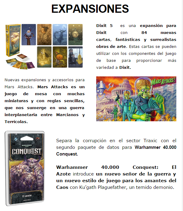 NOVEDADES Y PRE-VENTAS ENERO - JUEGOS DE LA MESA REDONDA Expansiones-enero2015-1