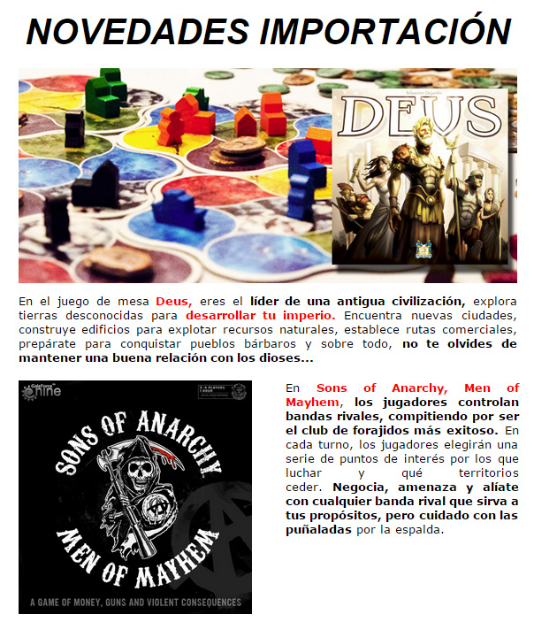 NOVEDADES Y PROMOCIONES MAYO - JUEGOS DE LA MESA REDONDA Importacion-mayo2015-1