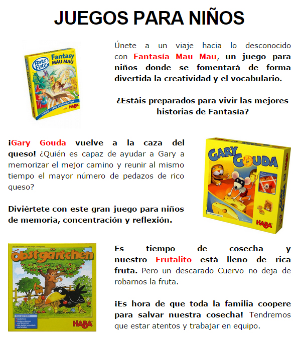 NOVEDADES DICIEMBRE - JUEGOS DE LA MESA REDONDA Infantil1-diciembre14