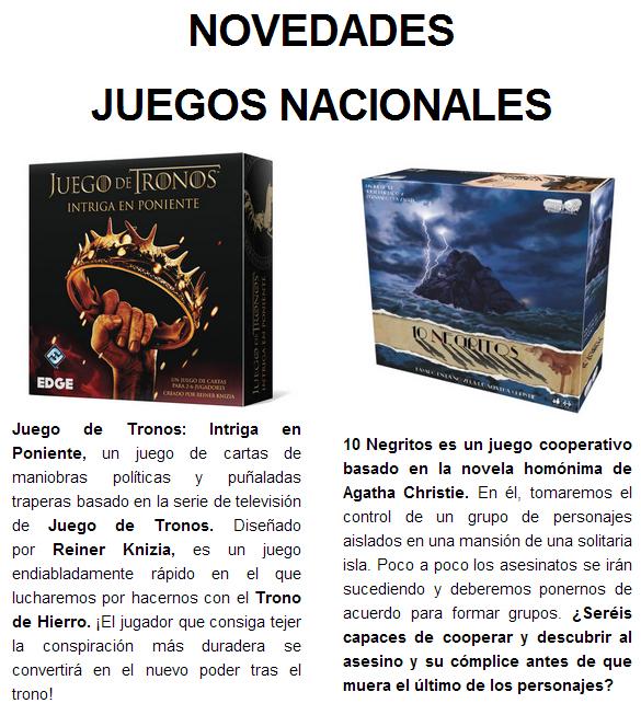 NOVEDADES Y PRE VENTAS SEPTIEMBRE 2014 - JUEGOS DE LA MESA REDONDA Novedades-nacional1-2014