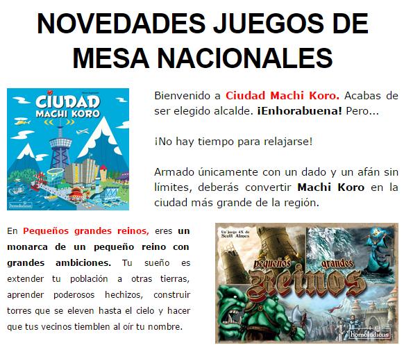 NOVEDADES OCTUBRE JUEGOS DE LA MESA REDONDA Novedades-octubre2014-1