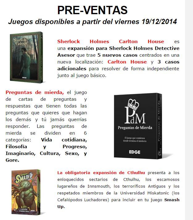 NOVEDADES DICIEMBRE - JUEGOS DE LA MESA REDONDA Preventa1-diciembre2014