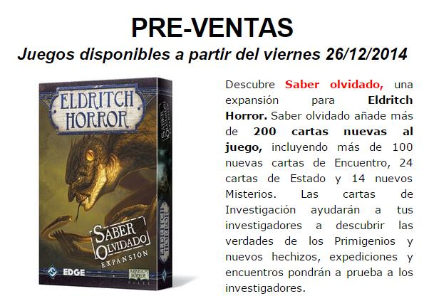 NOVEDADES DICIEMBRE - JUEGOS DE LA MESA REDONDA Preventa4-diciembre2014