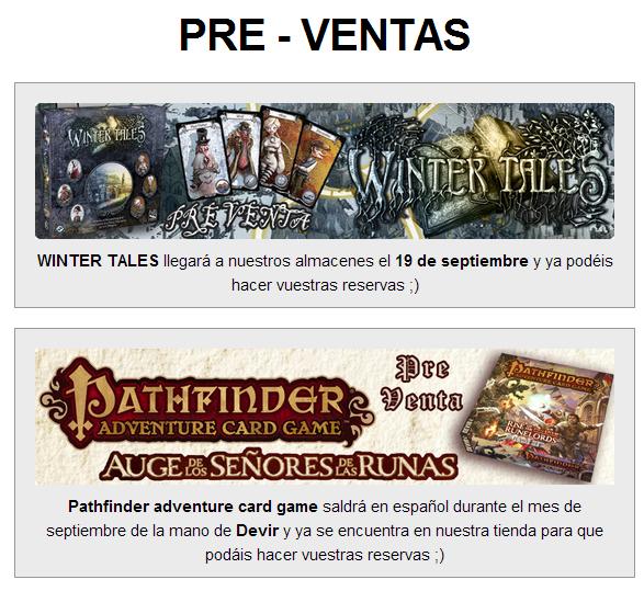 NOVEDADES Y PRE VENTAS SEPTIEMBRE 2014 - JUEGOS DE LA MESA REDONDA Preventas-septiembre2014