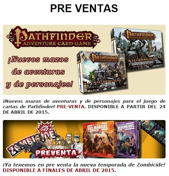 NOVEDADES Y PRE-VENTAS ABRIL - JUEGOS DE LA MESA REDONDA Preventasmesa-abril2015-1