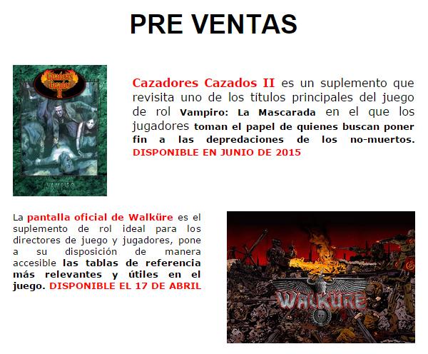 NOVEDADES Y PRE-VENTAS ABRIL - JUEGOS DE LA MESA REDONDA Preventasrol-abril2015-1
