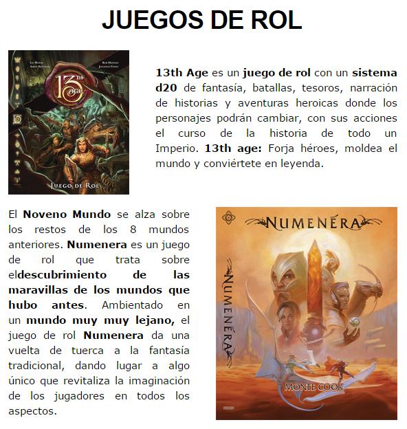 NOVEDADES Y PRE-VENTAS ENERO - JUEGOS DE LA MESA REDONDA Rol-enero2015-1