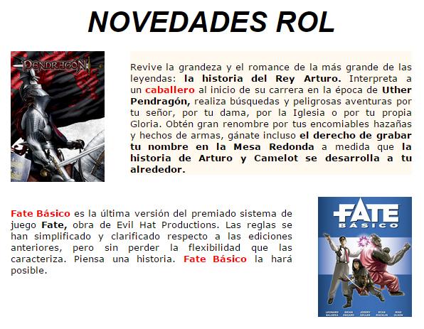 Novedades y preventas julio - JUEGOS DE LA MESA REDONDA Rol-julio2015-1