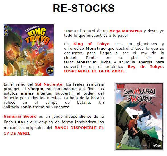 NOVEDADES Y PRE-VENTAS ABRIL - JUEGOS DE LA MESA REDONDA Stock-abril2015-1