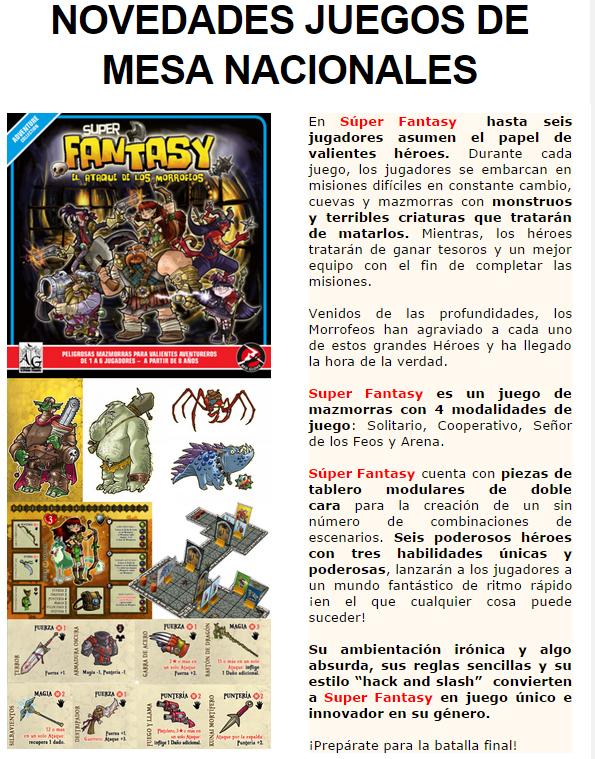 NOVEDADES Y PRE VENTAS SEPTIEMBRE 2014 - JUEGOS DE LA MESA REDONDA Super-fantasy