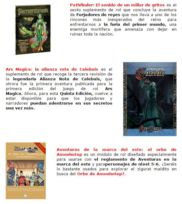 Novedades y preventas julio - JUEGOS DE LA MESA REDONDA Suplementos-rol-julio2015-1