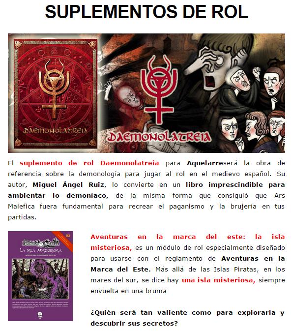 NOVEDADES Y PRE-VENTAS MARZO - JUEGOS DE LA MESA REDONDA Suplementos-rol-marzo2015-1