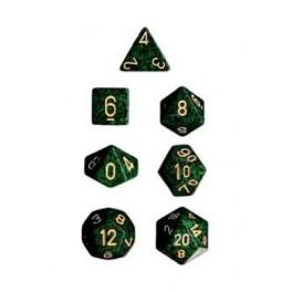 Set de 7 dados Chessex moteados verde y dorado