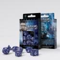 Set de dados clasicos RPG en color azul cobalto y blanco - accesorio juego de rol