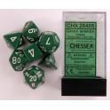 Set de 7 dados Chessex opacos Verde y Blanco