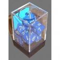 Set de 7 dados Chessex opacos azul y blanco