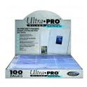 100 Hojas de 9 bolsillos Silver Series Ultra Pro