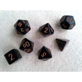 Set de 7 dados Chessex opacos negro y oro