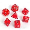 Set de 7 dados Chessex opacos rojo y blanco