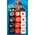 12 dados fate / fudge en rojo, blanco y negro